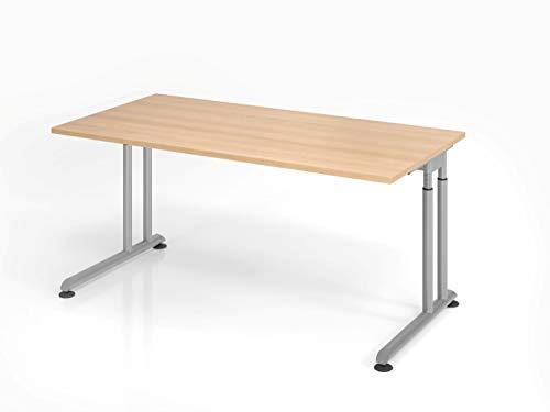 Hammerbacher Schreibtisch C-Fuß 160x80cm (Eiche/Silber)