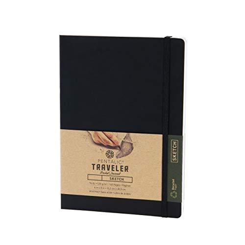 Pentalic 6' x 8' Pocket Sketchbook Traveler Journal, 160 Pages, Black
