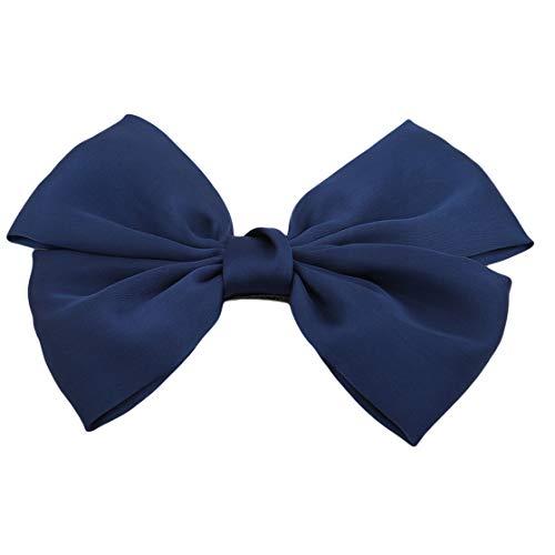 PXSTYLE Épingle à cheveux double arc surdimensionnée simple et polyvalente pour femmes et filles,bleu marin