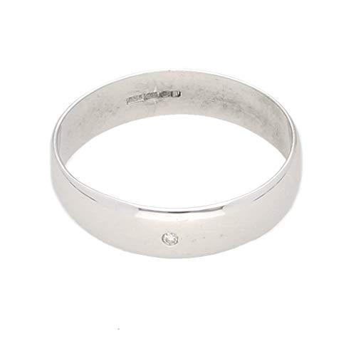 Jollys Jewellers - Alianza de boda para hombre, oro blanco de 9 quilates de 0,05 quilates con forma de D (tamaño Q), 4 mm de ancho