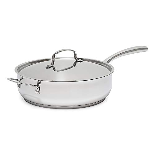 Goodful Stainless Steel 5-qt Sauté Pan with Helper Handle and Lid, Tri-Ply Impact Bonded Base, Dishwasher and Oven Safe Jumbo Cooker, 5-Quart