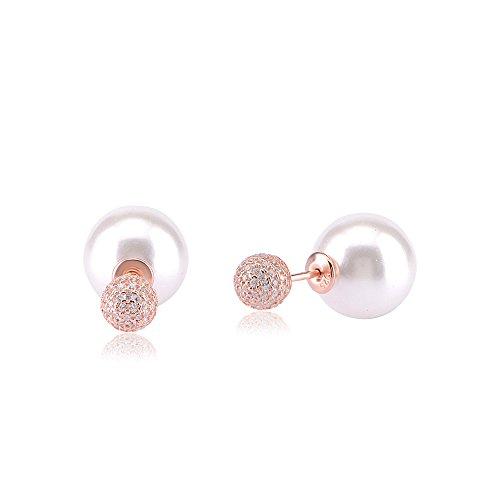 Ingenious Jewellery Orecchini a Perno da Donna 925 Argento Sterling Zirconia Cubica Trasparente Rotondo Perla Artificiale