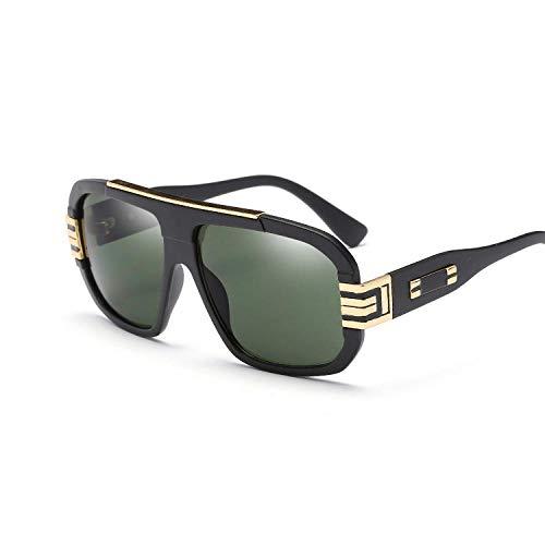 Gafas De Sol Gafas De Sol Vintage para Hombre Gafas De Sol para Hombre Gafas De Sol Cuadradas con Marco De Metal De Gran Tamaño-Black_Green