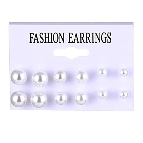 FEARRIN Pendientes para Mujer Pendientes de Perlas Vintage para Mujer Gran Cruz de Oro Conjunto de Pendientes Borla Larga Mariposa Pendientes Colgantes Joyería H248-996
