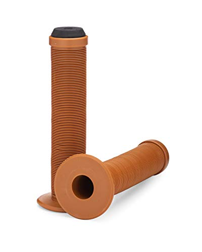 25NINE Ronin Grip with Flange - Flanged BMX Bike and Scooter Handlebar Grips with End Plugs - Brown