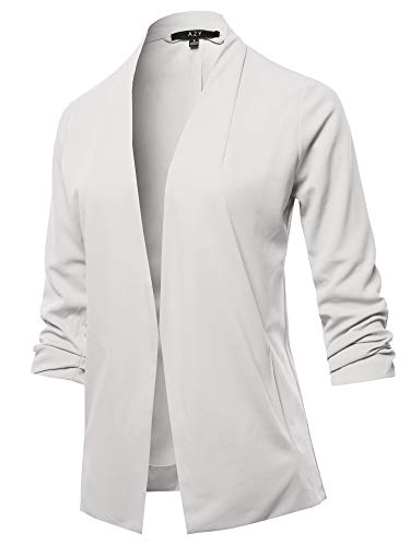 Open Front Crepe Stretchable 3/4 Sleeve Office Blazer Jacket White L