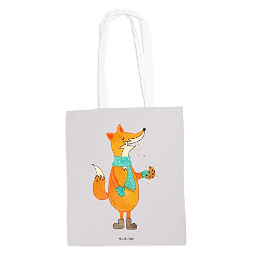 Mr. & Mrs. Panda Shopper, Einkaufstasche, Tragetasche Fuchs Keks - Farbe Grau Pastell