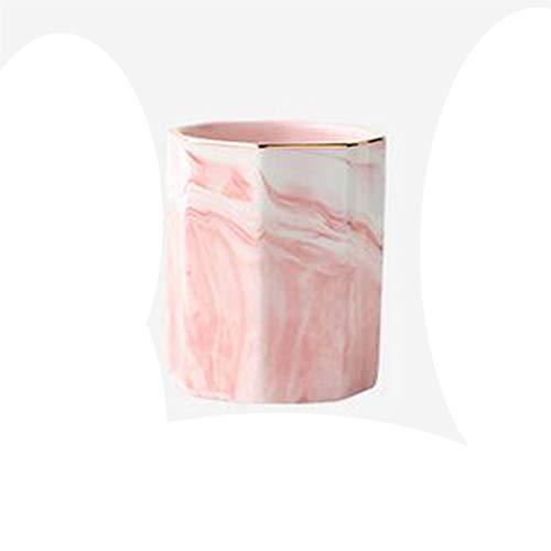 XINKONG Soporte de Pluma de Almacenamiento Retro Mármol de cerámica de mármol Creativo Pluma de Pluma de Pluma, 10x8.5cm (Color : Pink)