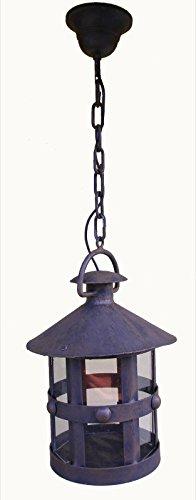 Lámpara de forja y cristal medieval, colgante de 1 luz