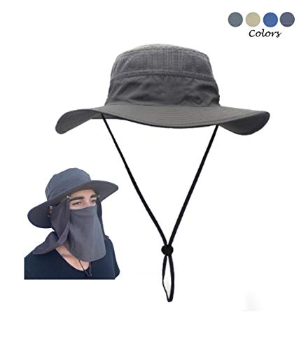 Turtle Tek Outdoors Fishing Hat/Sun Hat with Removable Neck & Face Flap, Waterproof UPF 50+ UV Sun Protection, Men Women Kids (Charcoal Gray)