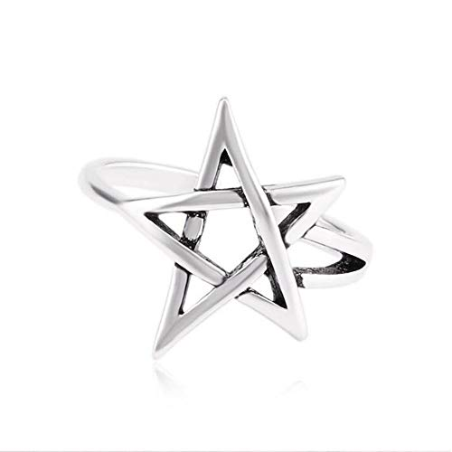 Pentagram Pentacle Ring Re-sizable Sterling Silver Morning Star Sabrina Teenage Witch Hocus Pocus Satanist Satan Spooky Halloween Horror Lucifer Sigil Satanic Goth Horror Witchcraft Goth Gothic (PNTGRMRNG2)