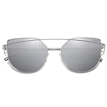 SOJOS Cat Eye Sunglasses for Women Fashion Designer Style Mirrored Lenses SJ1001 with Silver/Silver