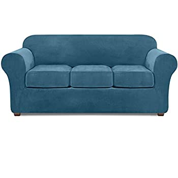 NORTHERN BROTHERS Velvet Couch Covers for 3 Cushion Couch Stretch 4 Piece Sofa Slipcover  Peacock Blue