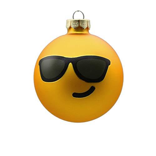 Inge`s Christmas Decor glas 600000222MO, Inge-Moji zonnebrillen, glazen bol 80 mm, 1 stuk in geschenkverpakking, geel, 8cm