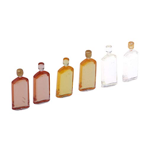 Set of 6 Pieces Miniature Whisky Bottles Model Dollhouse Foods Accessories