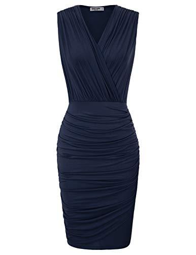 GRACE KARIN Women's Sexy Sleeveless Depp V-Neck Pregnant Bodycon Dress L Navy Blue
