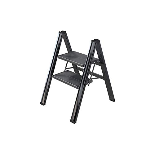 QFF Portable 2-Escalera plegable de heces, plegable 4-escalera de mano - Fácil de almacenamiento - multiusos Escaleras 3-STEP/Reposapiés - aleación de aluminio doblez