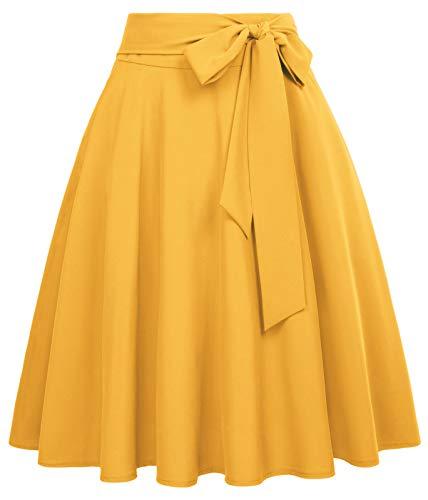 hohe Taille Rock Frauen Faltenrock Sommer Rock gelb Vintage Rock BP561-4 XL