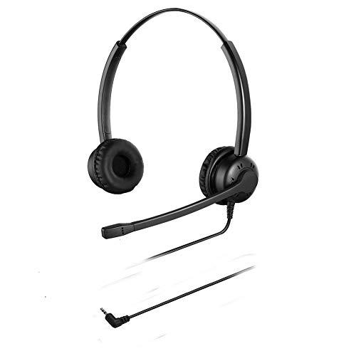Oppetec Auriculares Telefono de 2,5 mm con micrófono compatibles con teléfonos inalámbricos y teléfonos fijos de Yealink Avaya Cisco Panasonic.