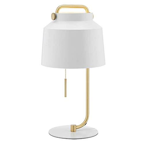HLL Lámparas novedosas, lámpara de escritorio de hierro nórdico con asa, lámpara de noche para dormitorio, lámpara de escritorio creativa, moderna, simple, lámpara de sala de estar, lámpara de mesa E