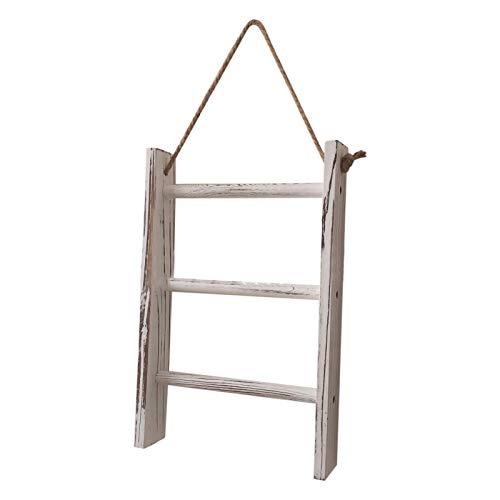 Toallero de madera de 3 niveles para colgar en la pared, dormitorio Mini ahorro de espacio, Living om Retro con escalera de almacenamiento para decoración del hogar, tobillos, baño, cocina encalada