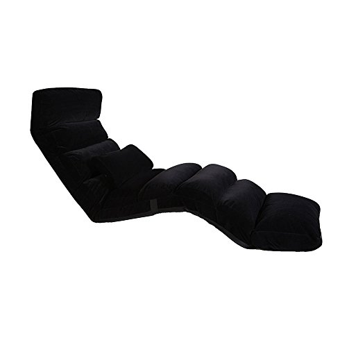 Fauteuils inclinables Feifei Canapé Chaise Multi-Vitesse Ajustement Pliable Lazy Canapé Chaise Simple Lavable Tissu Recliner Salon Chambre Balcon Chaise Lounge Pliant (Couleur : Noir)