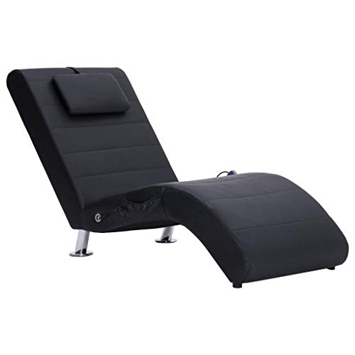 vidaXL Sdraio Massaggio con Cuscino Ergonomica Imbottita Comoda Design Moderno Funzione Massaggio Lettino Chaise Longue Poltrona Nera in Similpelle