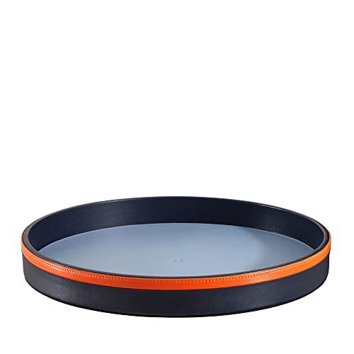 DUDU Bandeja para Servir Redonda de Piel de 32 cm Multicolor de Almacenamiento para casa para Oficina Diseño Refinado Navy