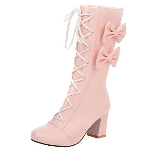 Femany Halbschaft Stiefel mit Blockabsatz und Schnürung Chunky Heels Boots Stiefeletten Schleife Rockabilly Lolita Cosplay Schuhe (Pink,42)