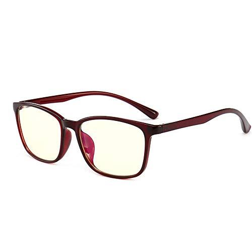 QMU Blaulicht-Schutzbrille, Blendschutz-Kopfschmerzen, Augenbelastung, Schutzbrille für Computer/Telefon, Vintage Rectangle Black Frame, transparente Linse-Rotwein