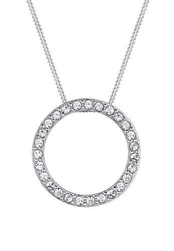 Elli Halskette Damen Kreis Geo Anhänger Funkelnd mit Swarovski® Kristalle in 925 Sterling Silber