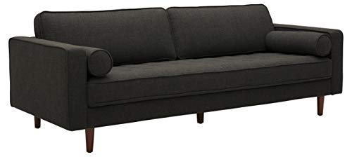 Amazon Brand – Rivet Aiden Mid-Century Sofa with Tapered Wood Legs, 87'W, Dark Grey