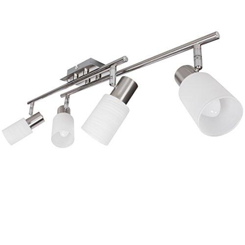 Wohnling Ledspot, 4 lampen, inclusief 4 x 4 watt lampen, draaibare plafondlamp, twee armen, IP20 fitting, E14 LED hal, plafondlamp spots, woonkamer slaapkamer kinderkamer, warmwit