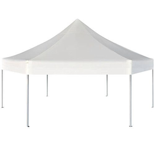 Festnight Partytent pop-up opvouwbaar Waterdichte Canopy Garden Gazebo Marquee Tent voor Outdoor Wedding Garden Party zeshoekig crémewit 3,6 x 3,1 m