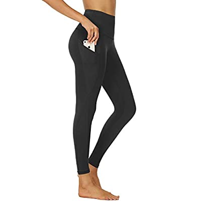 NexiEpoch Yoga Pants for Women - High Waist Tummy Control Stretch Women Leggings with Side Pockets for Workout, Training (Black, Small)