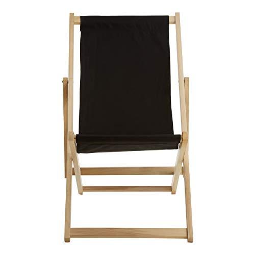 Premier Housewares Beauport Liegestuhl aus Holz, klappbar, Strandstuhl, Outdoor, Camping, Picknick, Schwarz