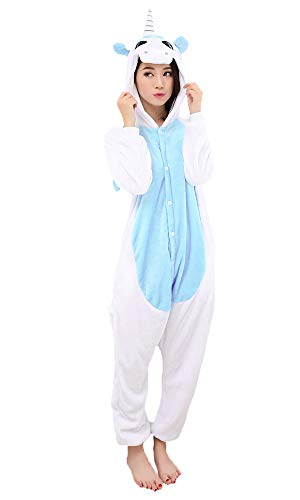 Pyjama Licorne Cosplay - Halloween Carnavale Unisexe Adulte Costume Déguisement Animaux Capuche Flanelle, Bleu Licorne, Medium (155-165cm)
