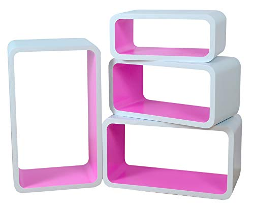 Mensola da Muro Libreria Scaffale Vari Colori retrò Cubi Moderno LO01 (Bianco/Rosa)