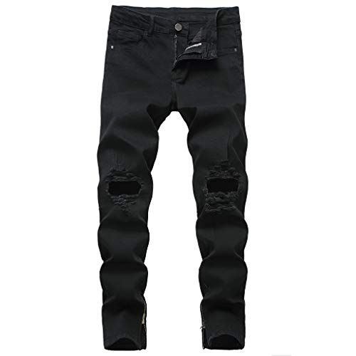 SoonerQuicker Jeans herengaten, slim fit, skinny stretchbroek met ritssluiting op de benen, losse pasvorm, broek, gaten voor outdoor, scheuren, onder, nauwsluitend, regular fit, rechte pijp