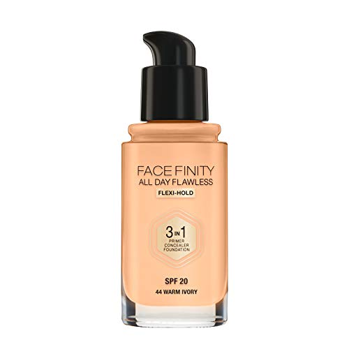 Max Factor Facefinity All Day Flawless 3 in 1, Fondotinta Liquido a Lunga Durata, 44 Warm Ivory, 30 ml