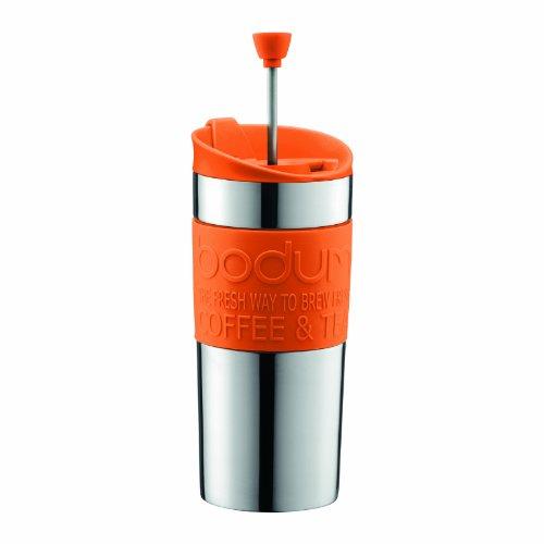 Bodum TRAVEL Press Set klein Edelstahl Kaffeemaschine mit extra Deckel, Vakuum, 0,35l/12oz, Orange