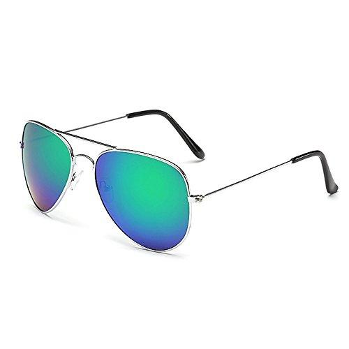 Sonnenbrille Fliegerbrille Brille in vielen Farbkombinationen Klassische Pilotenbrille Verspiegelt Unisex Sonnenbrille Damen Herren Pornobrille Sommer (C12 - Rahmen Silber - Glas Grün verspiegelt)