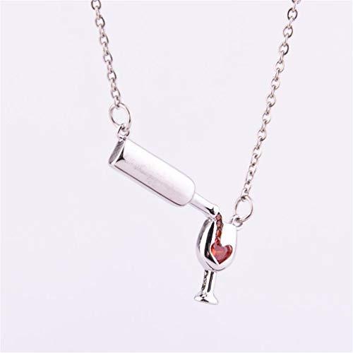 WEIHEEE - Collar creativo para botella de vino tinto con colgante de diseño simple y lindo, accesorios para Navidad, regalo de San Valentín, color plateado
