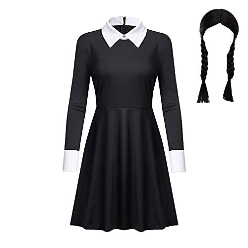 zhaolian888 Wednesday Addams Cosplay Uniforme Vestido de manga larga y manga corta Traje de Cosplay Disfraz de Halloween con peluca 4-12 años