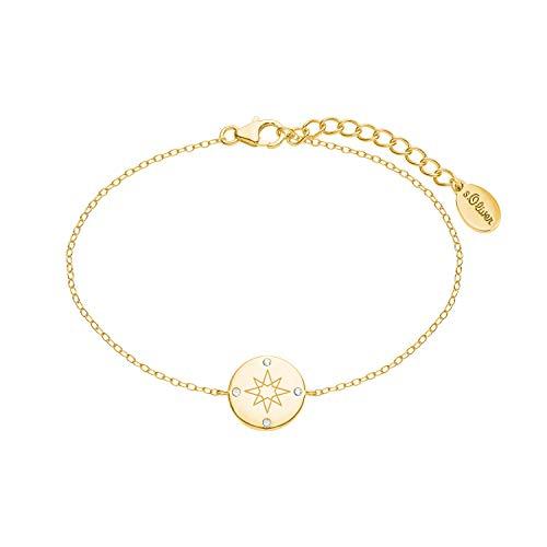s.Oliver Armkette für Damen mit Kompass-Anhänger aus 925 Sterling Silber gelbvergoldet, längenverstellbar (16+3 cm)