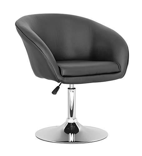 HABITMOBEL Pack de 2 sillones sillas New, Cromado, similpiel Negra