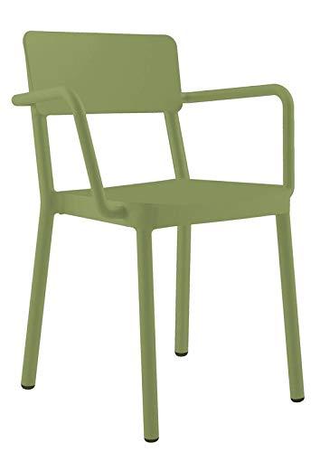resol Set de 2 sillas con Brazos de diseño Lisboa para Interior, Exterior, jardín - Color Verde Oliva