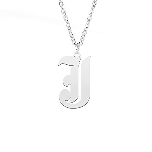 Old English Font Initial Necklace Monogram Novelty Personalized Alphabet Letter Pendant Necklace Birthday Gift(S--J)
