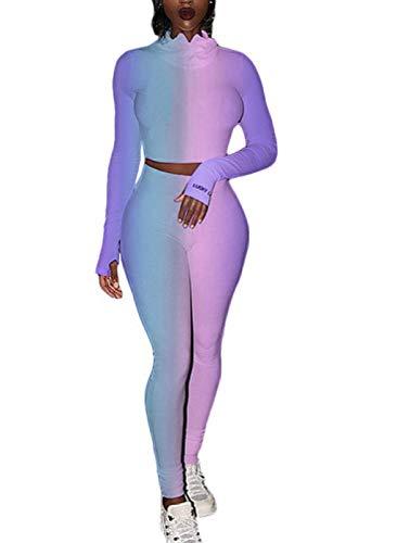 FOBEXISS Conjunto de 2 piezas para mujer, manga larga, cuello de corona, cuello corto y leggings ajustados, sexy teñido anudado, ropa de salón atlética
