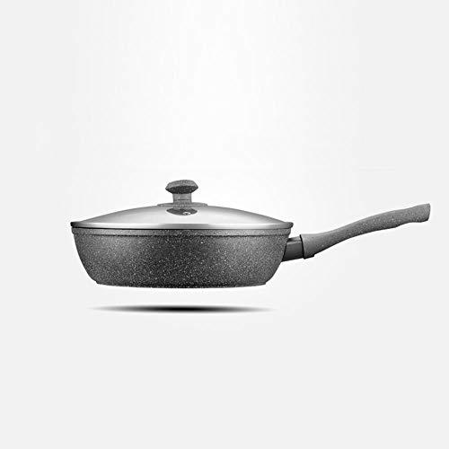 Art Jian Frying Pan, Pierre médicale antiadhésives Steak Maison Pan Wok poêle ustensiles de Cuisine poêle, cuisinière à gaz cuisinière à Induction Universelle,Noir,28cm